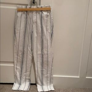 Brandy Melville white and blue striped pants.